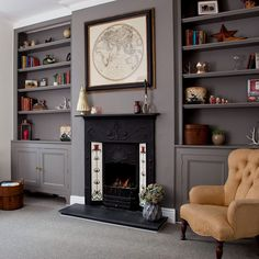 Image result for alcove cupboard and shelving ideas