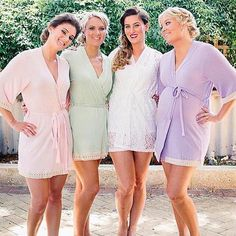 The Bride In Her Scarlett Lace Robe And Maids Blush Mint Lavender Bridesmaidbridesmaid