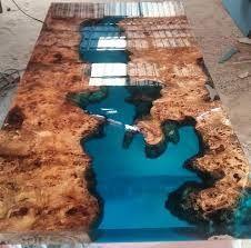 """Résultat de recherche d'images pour """"wood table with epoxy glass waterfall"""""""