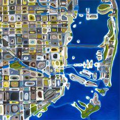 """Klari Reis - MIAMI MAP 60"""" x 60"""""""