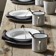 Falcon Enamelware — Dressing your table Enamel Dishes, Enamel Ware, Picnic Plates, Falcon Enamelware, Traditional Wedding Decor, Vintage Enamelware, Interior Design Inspiration, Kitchen Accessories, Vintage Kitchen