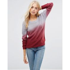 QED London Ombre Jumper ($18) ❤ liked on Polyvore featuring tops, sweaters, red, crew top, red sweater, crewneck sweaters, red top and crew neck top