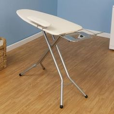 HOUSEHOLD ESSENTIALS 971840-1 Wide Top Mega Pressing Station lets you take advantage of every wrinkle-smoothing sweep of your iron. This ironing board has all of the perks of a conventional board and then some!