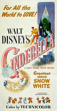 Disney's version of the fairy tale about a lonely girl given a chance to go to the ball and a complete makeover, including glass slippers (fur in the original story - studios love to pimp girls' pumps).