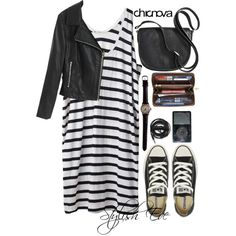 #Polyvore set    Black & white stripe tank dress, cropped leather bomber, black cross-body bag, black #Converse All Star Chuck Taylor's, iPod, zip-up mini cosmetics bag, black leather watch & band.  Add a black ribbed tank or black lace halter bra from #UrbanOutfitters for extra coverage.