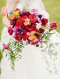 colorful red and purple bouquet - love this