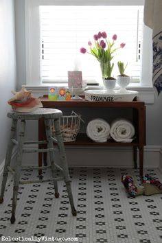 Freshen up a bathroom with style!  Love the mix of vintage finds. eclecticallyvintage.com #KleenexStyle
