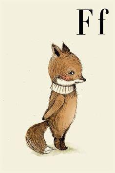 F for Fox - Alphabet art - Alphabet print - ABC wall art - ABC print - Nursery art - Nursery decor - Kids room decor - Children's art - by holli on Etsy Art And Illustration, Fuchs Illustration, Illustrations Posters, Abc Wand, Art Fox, Fantastic Fox, Alphabet Print, Woodland Creatures, Nursery Art