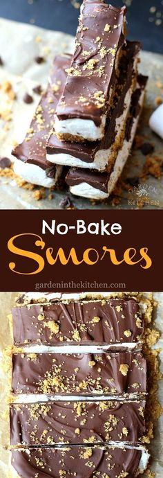 These No-Bake S'mores Bars are a fun spin on the classic s'mores. These S'mores Bars are the perfect combination of sweet, chewy, and crunchy and an indulging summer dessert you can't resist! You know summer is here when Mini Desserts, No Bake Desserts, Easy Desserts, Delicious Desserts, Yummy Food, Baking Desserts, Quick Dessert Recipes, Cake Baking, Frozen Desserts