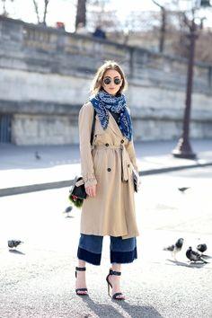 Street Style: Blue Bandana + Color Block Jeans In Paris