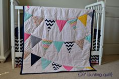 lifes little moments: nursery projects {bunting quilt} This could be a cute way to repurpose keepsake baby clothes!
