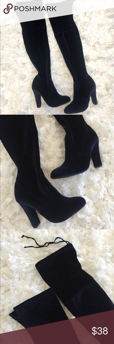 """Steve Madden """"Gorgeous"""" Over the Knee Boots OTK boots. New in box. Velvet like material. Navy color. I am selling them at a low price because one boot is missing the tie at the top (that's how I received it them after purchasing online). No other flaws noted. I just have a few too many boots at the moment :) Steve Madden Shoes"""