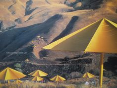 Christo exhibition poster - Yellow Umbrellas – Art & Vintage Store Ltd Vintage Art Prints, Vintage Posters, Fine Art Prints, Yellow Umbrella, Umbrella Art, Thomas Mcknight, Original Vintage, Rene Magritte, Poster Vintage
