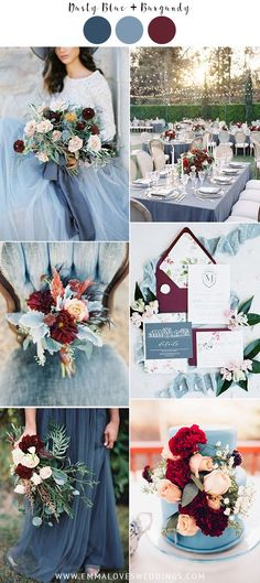 dusty blue and burgundy fall wedding color ideas #emmalovesweddings #weddingideas2019
