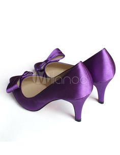 Escarpins pour femmes haut talon 8 cm avec nœud de papillon en satin violet magnifique - Milanoo.com