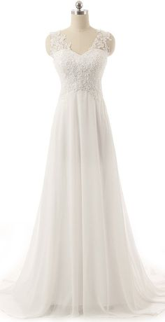 V Neckline Backless Lace Tulle Chiffon Sequin Ivory Bride Wedding Dress