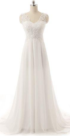 V Neckline Backless Lace Tulle Chiffon Sequin Ivory Bride Wedding Dress