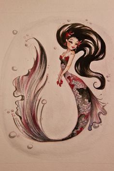 ♥ The Art of Liana Hee ♥: VERSUS: A Show of Opposites - Unique Koi Mermaid watercolor paintings