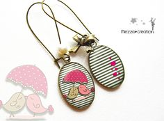 Boucles d'oreille ° Les Oiseaux ° parapluie rayure verre rétro Fabric Jewelry, Beaded Jewelry, Jewellery, Shrinky Dinks, Diy Earrings, Diamond Are A Girls Best Friend, Scrapbook Paper, Making Ideas, Jewelry Crafts
