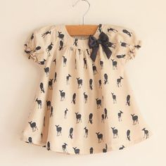 Baby clothes girl blouse shirts tee shirt moose printed with bow knotted free… Baby Summer Dresses, Baby Dress, Summer Baby, Baby Girl Fashion, Fashion Kids, Style Fashion, Toddler Outfits, Kids Outfits, Toddler Girls
