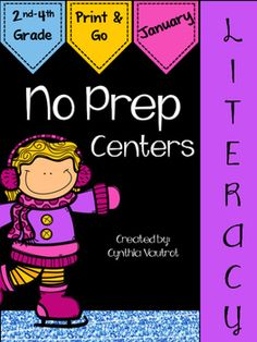 NO PREP Literacy Centers for January is a unit full of hands-on, engaging, fun literacy activities that are ready to PRINT & GO!  Keep your students engaged and learning with these easy set up centers.No Prep Literacy centers will keep your students engaged and enjoying learning while making sure they are getting the necessary reading and language skills as they complete spiral reviews of concepts each month throughout the year.