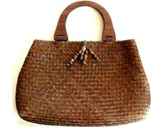 Vintage Woven Straw BOHO Wood Handle Beaded Purse Tote Handbag Womens Floral Lined Bag