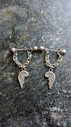 #nipplepiercing #nipplepiercings #nipplejewelry #nipplebarbells #piercing #piercings #bodypiercing #bodyjewelry Cherub Angel Wings - Set of 2 !! 14g (1.6mm) or 16g (1.2mm) Nipple Barbell Jewelry Piercings Accessory 14 16 Gauge