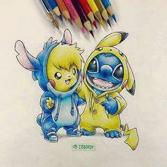 pikachu, stitch, and drawing Bild