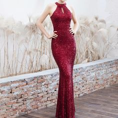 New 2019 Women Sequined Party Long Dresses Halter Sleeveless Mermaid Evening Dress Ladies Solid Sexy Robes Elegant Formal Gowns - claret M Source by CreativeDreamscape long dress Short Graduation Dresses, Cheap Homecoming Dresses, Unique Prom Dresses, Cheap Evening Dresses, Mermaid Evening Dresses, Prom Party Dresses, Elegant Dresses, Sexy Dresses, Long Formal Gowns