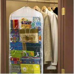 hanging gift wrap organizer, old garment bag