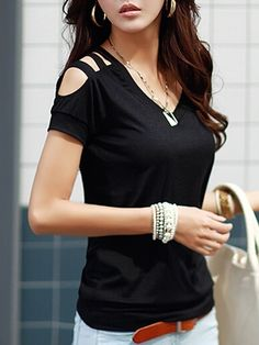 V Neck Cotton Hollow Out Short-sleeve-t-shirt Short sleeve T-shirts from fashionmia.com