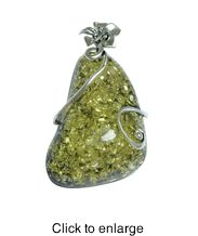 """Siluxe silver tone simulated green Amber pendant. Designed with a 34x64 mm simulated green colored Amber stone. Pendant is 1 1/3"""" wide by 2 1/2"""" long. This item is fine silver plated.  Suggested Retail Price: $19.50  Blow Out Wholesale Price: $6.50"""