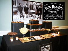 Jack Daniels Party---ummm can I have this for my next birthday! Jack Daniels Party, Festa Jack Daniels, Jack Daniels Birthday, Adult Birthday Party, 30th Birthday Parties, Man Birthday, Birthday Celebration, Birthday Party Themes, Birthday Decorations