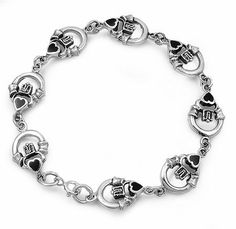 Sterling Silver Claddagh Onyx Bracelet Jewelry By Marcus. $72.00. Stone : Black Onyx. Length: 7.5 inches. Sterling Silver
