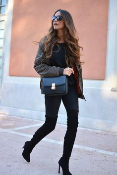 boots: Zara | bomber jacket: Zara | bag: Celine, jeans | Zara knee high boots | stellawantstodie