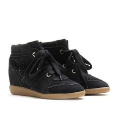 Isabel Marant Bobby Wedge Suede Sneakers (830 CAD) ❤ liked on Polyvore featuring shoes, sneakers, anthracite, rubber sole shoes, isabel marant sneakers, suede wedge sneakers, wedged sneakers and suede wedge shoes