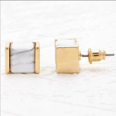 NWT marble cube square earrings studs Gray tone studs in the classy marble stone in a trendy cube shape- awesome. Jewelry Earrings