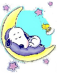 Good Night Moon ~ Snoopy sleeping on a crescent moon with Woodstock on a cloud.