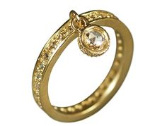 Me and Ro Me&Ro 18K Gold 4mm Rose Cut Diamond Dangle Ring with Pave Band