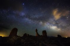 Balanced Rock at Arches National Park in Utah beneath the amazing Milky Way and night sky. Photo courtesy of Mike Mezeul II.