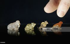 A collection of Faberge carved hard stone miniature animals is displayed at Christie's on January 19, 2007 in London. The collection of King George I of the Hellenes contains over 850 lots featuring a selection of silver and Faberge as well as furniture, works of art, Chinese, jade, porcelain and paintings. Estimates range from GBP100-GBP250,000. The sale is held on January 24-25 2007.