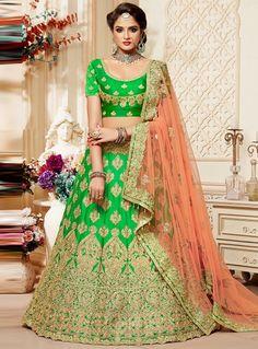 Light Green Silk Circular Lehenga Choli 98942