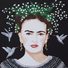 Frida With Lily Of The Valley Headdress And White Hummingbirds