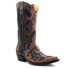 Men's Corral Black Snip Toe with Red and Cognac Inlay at Maverick Western Wear
