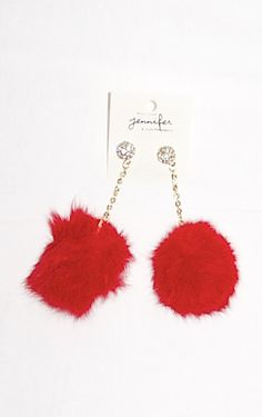 Get it at http://ptbchic.com/collections/jewelry/products/red-fur-ball-earrings  #Valentine #Fashion #Style #Onlineshopping #Earrings #Jewelry #Red #Chic