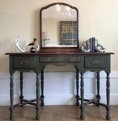 Beautiful vanity painted with Chalk Paint® by Annie Sloan in the gorgeous neutral color Olive and finished with Dark Chalk Paint® Wax. The painted furniture project is by stockist When Modern Was in San Francisco, CA.