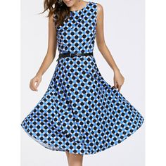 Retro Round Neck Sleeveless Women's Polka Dot Print Waist Slimming Dress - BLUE XL