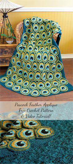 [Cozy] Peacock Feather Applique Free Crochet Pattern & Video Tutorial!