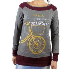 Camiseta algodon mujer estampado bicicleta
