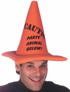 alert the party to your fun loving intentions in this soft caution cone hat that turns any outfit into a memorable costume